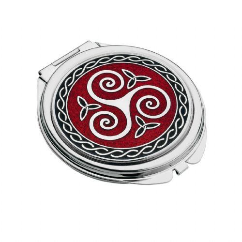 Compact Mirror Silver Plated Celtic Triskele Handbag Magnifying Travel Cosmetic